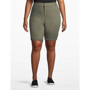 Lane Bryant Olive Chino Bermuda Shorts 24